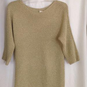 NWT Chicos Long Sweater w/Gold Metallic Thread